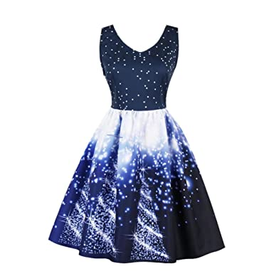 Dragon868 Womens Santa Christmas Party Dress Plus Size Vintage Xmas Swing Skater Dress (Blue,