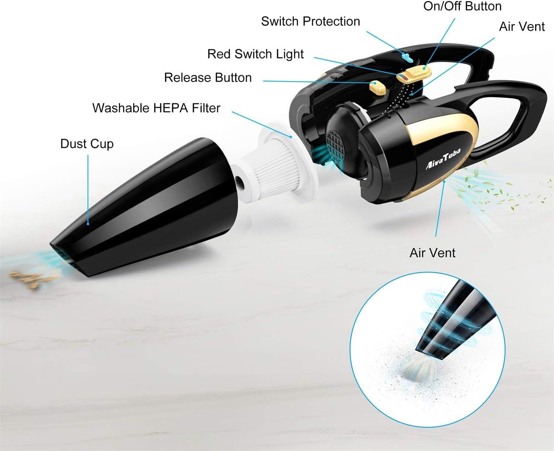 2 filtros lavables 2 adaptadores de carga 6000PA con Fuerte Succi/ón Aspirador de Coche Aspiradora de Mano sin Cable Aspira en H/úmedo y en Seco
