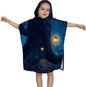 C COABALLA Magical Night with a Little Home in The Trunk of an Ancient Tree Enchanted Forest,Kids Soft Cotton Hooded Poncho Bath Towel for Bos
