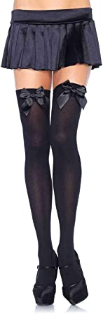 6255 Leg Avenue White Thigh Highs with Black Bow