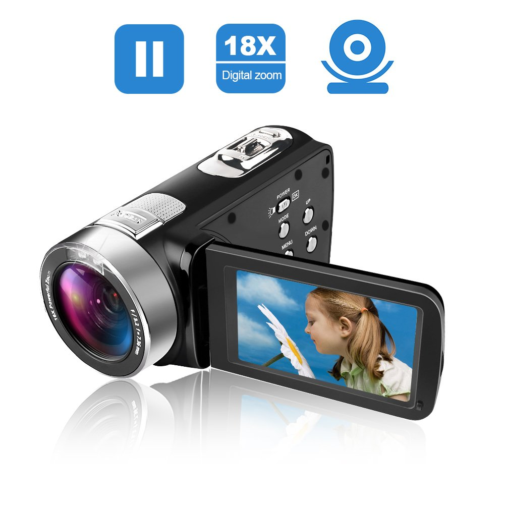 Camcorder Video Camera Full HD 24.0MP Camcorders Digital Camera 1080p 3.0'' Rotatable LCD for Vlogging Webcam Pause Function Dual LED Lights by SUNLEA (Image #7)