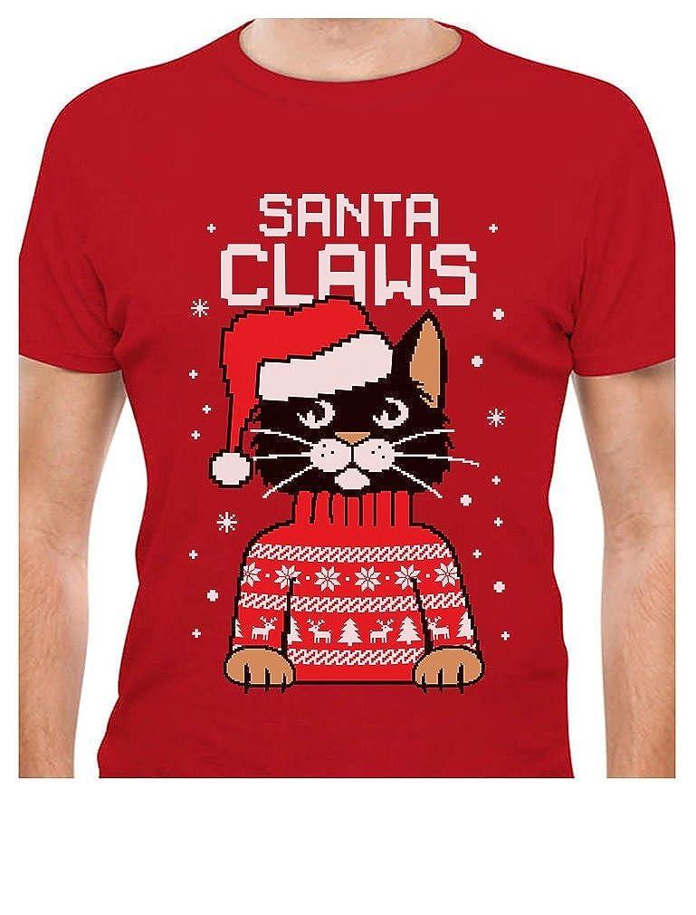 TeeStars - Santa Claws Cat Ugly Christmas Sweater T-Shirt GhPhrMZgW