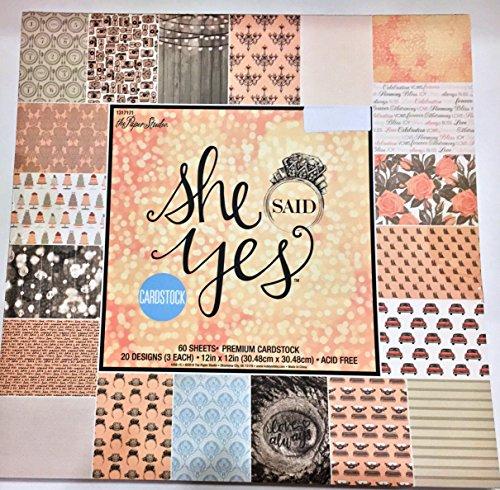 She Said Yes 12x12 Scrapbooking Paper Cardstock Pad, Wedding, Anniversary, Feminine,Vintage 60 (Anniversary Scrapbooking)