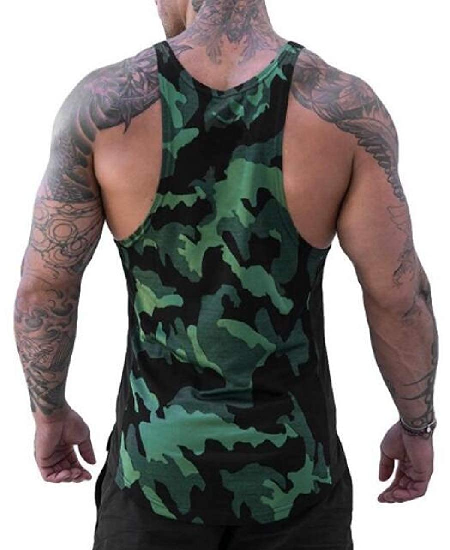CRYYU Men Outdoor Athletic Casual Camouflage Quick Drying Tank Top Tees