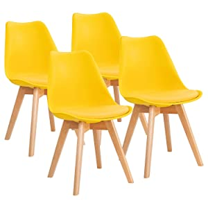 Furniwell Dining Chairs Mid Century Modern DSW Chair Upholstered Side Kitchen Chairs with Wood Leg and Soft Padded Cushion Shell Tulip Chairs For Kitchen, Dining, Bedroom, Living Room Set of 4(Yellow)