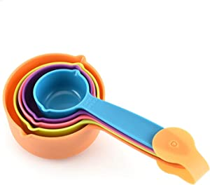 Pet Food Scoop - Measuring Cups Spoons Set Plastic Dog, Cat Bird Food (Random Color)