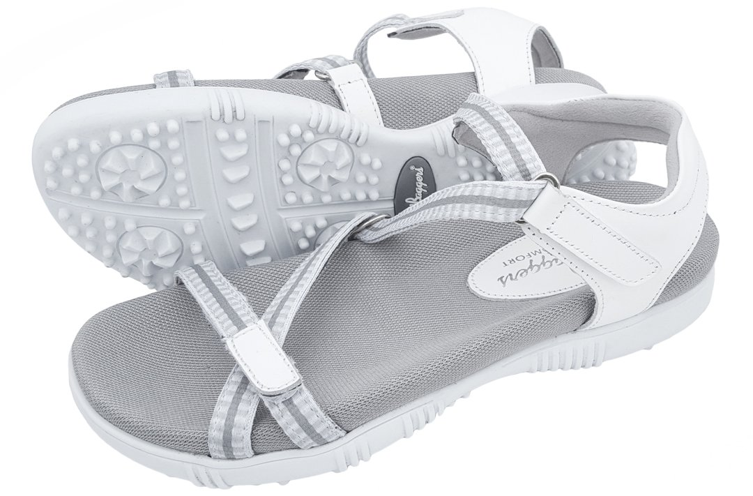 Sandbaggers Galia Women's Golf Sandals (11, White) by Sandbaggers