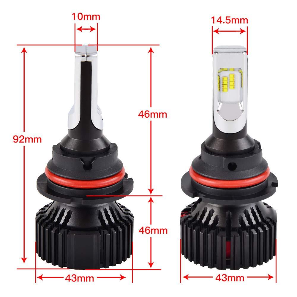 H2Racing 9006 Coche LED Faros Bombillas HB4 Kit de Conversi/ón Todo en uno 16000LM//Pair 6500K LED luces de antiniebla Reemplazar Halogen HID Xenon