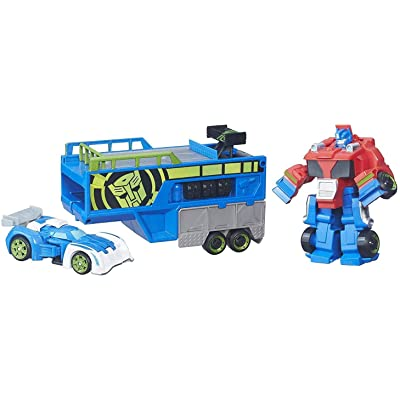 Playskool Heroes Transformers Rescue Bots Optimus Prime Racing Trailer: Toys & Games