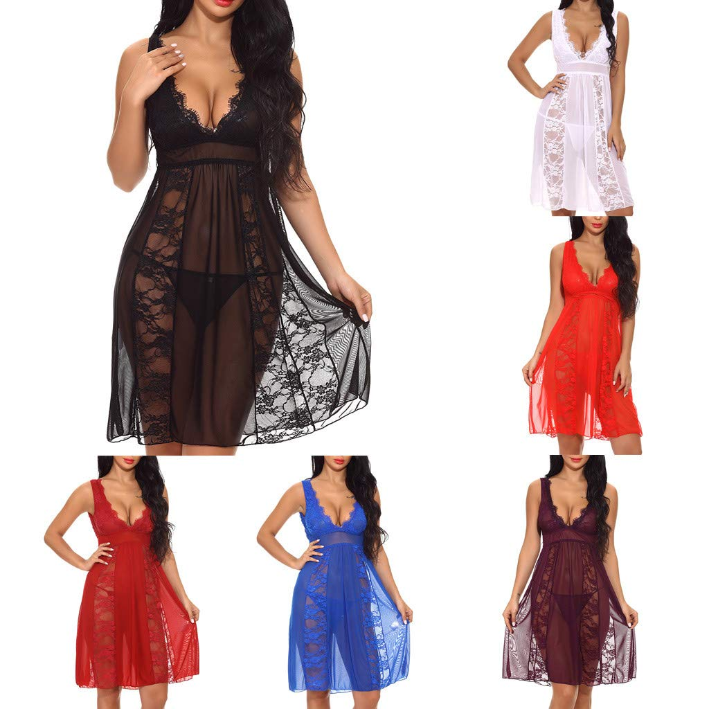 CamisóN Sexy para Dormir,YiYLinneo Encaje Nightdress Cardigan Sleepwear Traje de Bata Pijamas Vestidos Largos De Mujer Temptation Lingerie Ropa: Amazon.es: ...