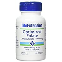 Life Extension Optimized Folate L-Methylfolate 1000 mcg Vegetarian Tablets 2 Pack