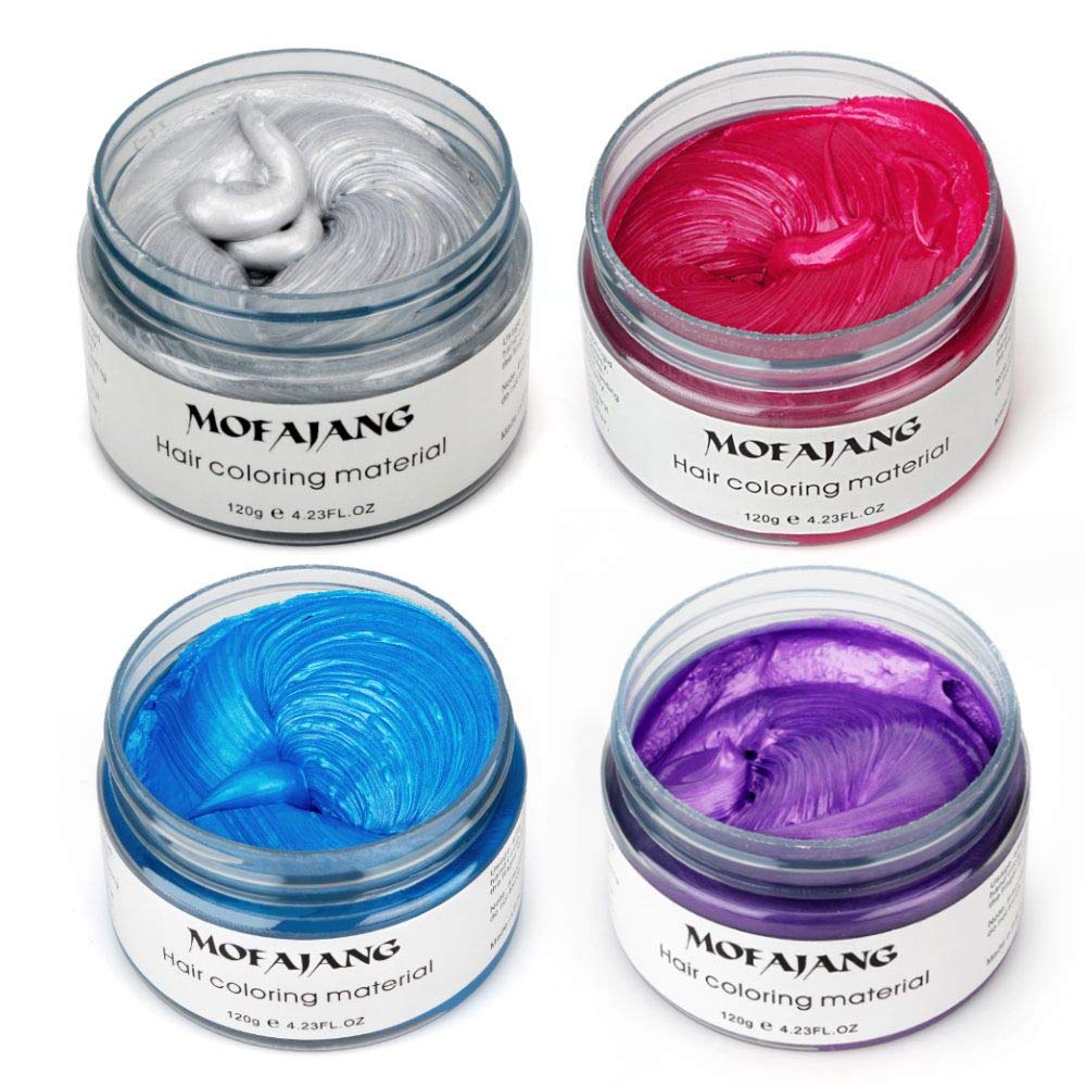 4 Colors Temporary Hair Dye Wax - 4 in 1 Sliver Blue Purple Red - Natural Matte Hairstyle for Party, Cosplay by HailiCare