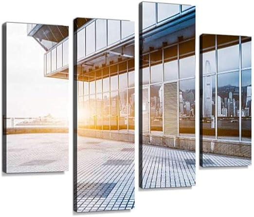 Hong Kong Victoria Skyline Reflejado en la pared de vidrio Lienzo ...