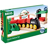 BRIO World 33424 - Classic Deluxe Railway Set - 25 Piece Wood Train Set with Accessories and Wooden Tracks for Kids Ages 2 an