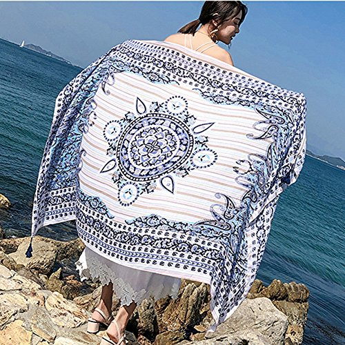 Price comparison product image SUNBABY Women Bohemian Tassels Scarf Sunscreen Shawl Seaside Travel Beach Towel (Cashew Nuts)