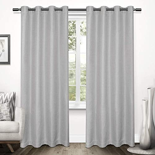 Exclusive Home Curtains Tweed Textured Linen Blackout Window Curtain Panel Pair