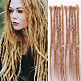 AOSOME Human Hair Dreads 20 inch 10 Strands Full Handmade Dreadlock Extensions Crochet Hair Light Brown Color