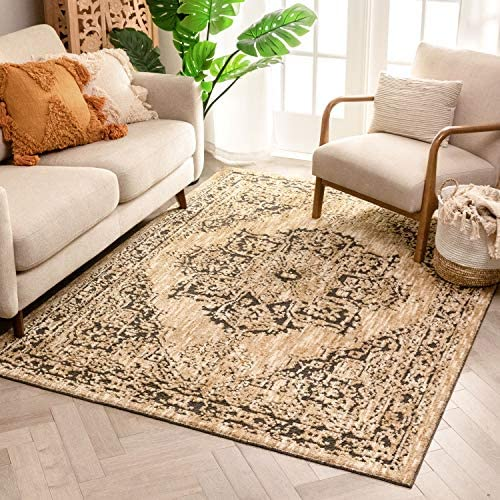 Well Woven Bayley Vintage Beige Grey Distressed Oriental Medallion Area Rug 8×10 7 10 x 9 10