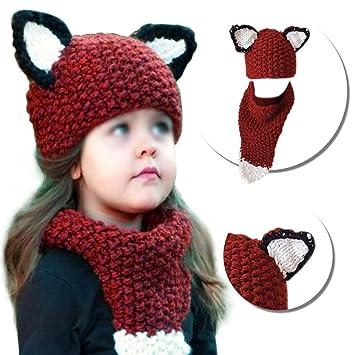 Bonice hiver à tricot de laine casquettes Fox chapeaux balbutiantes Châles  avec capuche Cowl Beanie enfant 899f4094678