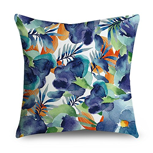 Popeven Decorative Pillow Cover 18 x 18 Square Canvas Accent Pillow Sham for Sofa Outdoor Throw Pillows for Couch -