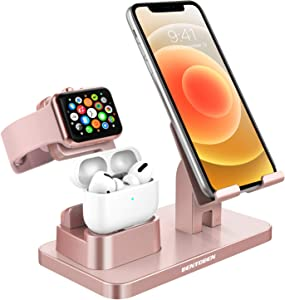 BENTOBEN 3-in-1 Charging Stand, Universal Charging Dock Station Compatible for Airpods Pro 2/1 Apple Watch Series 5/4/3/2 iPhone 12 11 SE2 XS Max XR 8 7 6S 6 Plus 5S Android Smartphone iPad, Rose Gold