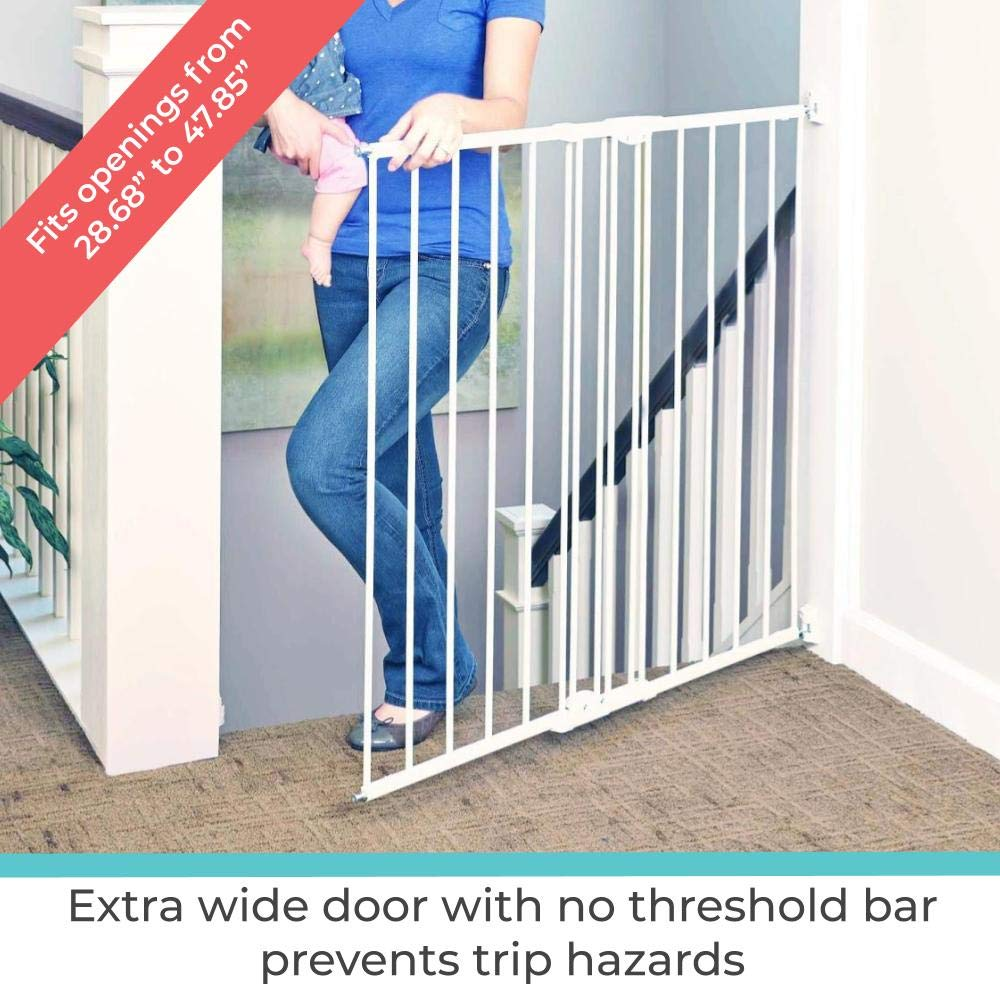 Toddleroo By North States 47 85 Wide Tall Easy Swing Lock Gate Ideal For Standard Stairways Hardware Mount Fits Openings 28 68 47 85 Wide 36 Tall Warm White Baby