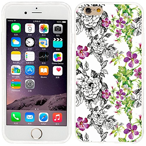 iPhone 6 Case, iphone 6 4.7 case,iphone6 case ,ChiChiC full Protective unique Stylish Case slim durable Soft TPU Cases Cover for iPhone 6 4.7 inch,vintage hand drawn black pink flower and green leaves on white background