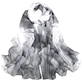 Van Caro Sheer Chiffon Scarf Beach Shawl Elegant Floral Sunscreen Scarf for Women