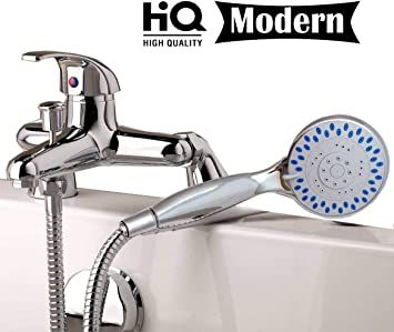 Single Lever Bath Shower Mixer Tap Chrome Brass with Legs Hose Handset Bracket