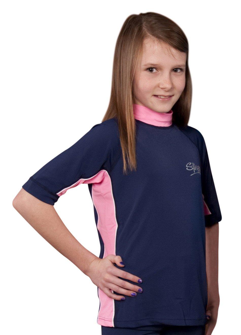Girls Rash Guard UV Sun Protective Swim Shirt - Short Sleeves - Sizes 10, 12 and 14 (10, Navy/Pink)