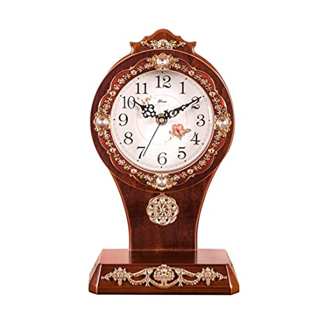 Amazon.com : Family Fireplace Watches Silent Retro Table Clock European Art Table with Batteries Suitable for Living Room Office Bedroom (Color: White) ...