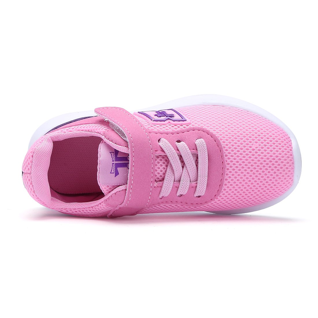BTDREAM Boy and Girl's Breathable Fashion Sneakers Athletic Outdoor Sports Running Shoes Pink Size 26 by BTDREAM (Image #5)