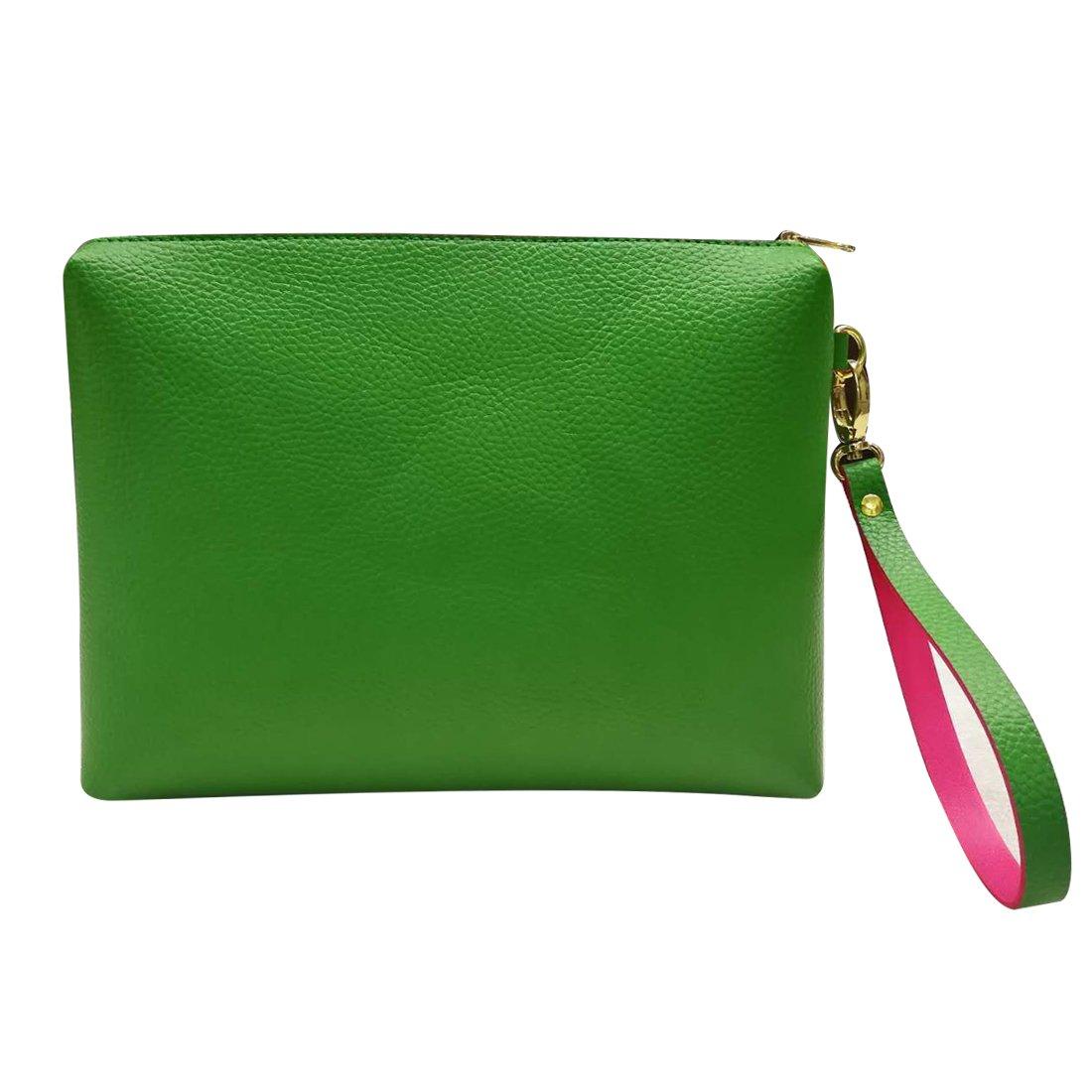 Women's Clutch Bag Leather Wristlet Evening Handbag Large Capacity Makeup Bag & Cosmetic Bag Wallet (Green)