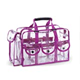 eMarto Fashion PVC Clear Travel Makeup Bag with 6 External Pockets (Purple)