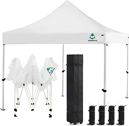 Sunnotic 10'x10' Pop Up Canopy Tent Outdoor Folding Camping Shade Canopy Tent Ez Up Portable Instant Pop Up Gazebo