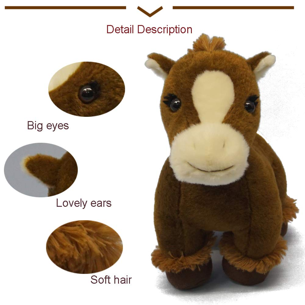 DORE Stuffed Horse Animals Plush Horse Toys,Brown VOGTOY