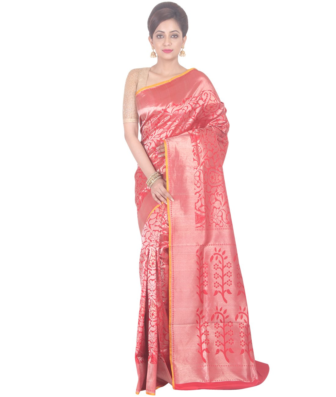 Indian Ethnic Upadda Silk Red Uppada Saree
