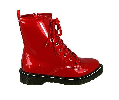 Botines de mujer con zipper y agujetas, estilo combate, punk: Amazon.es: Zapatos y complementos