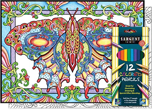 Butterfly Beauty - Color By Number Poster Set - Includes 12 Colored Pencils by Stuff2Color