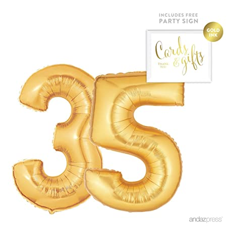 Andaz Press Giant Gold Helium Foil Balloon Party Kit With Sign Jumbo 40 Inch