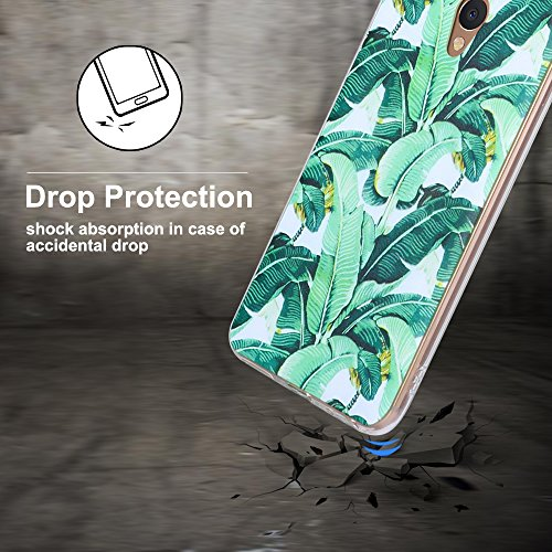 Funda Meizu M5 Note, CaseLover Carcasa para Meizu Blue Charm Note 5 Silicona Transparente Suave TPU Protectora Caso Ultra Delgado Flexible Gel Goma Espalda Parachoques Trasera Cubierta Anti Choque Tap Hoja verde