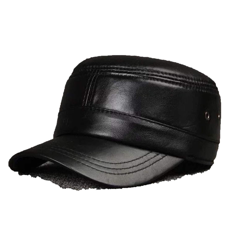Mens Real Sheepskin Leather Baseball Cap Newsboy Beret Hat Winter Warm Sheepskin Hats