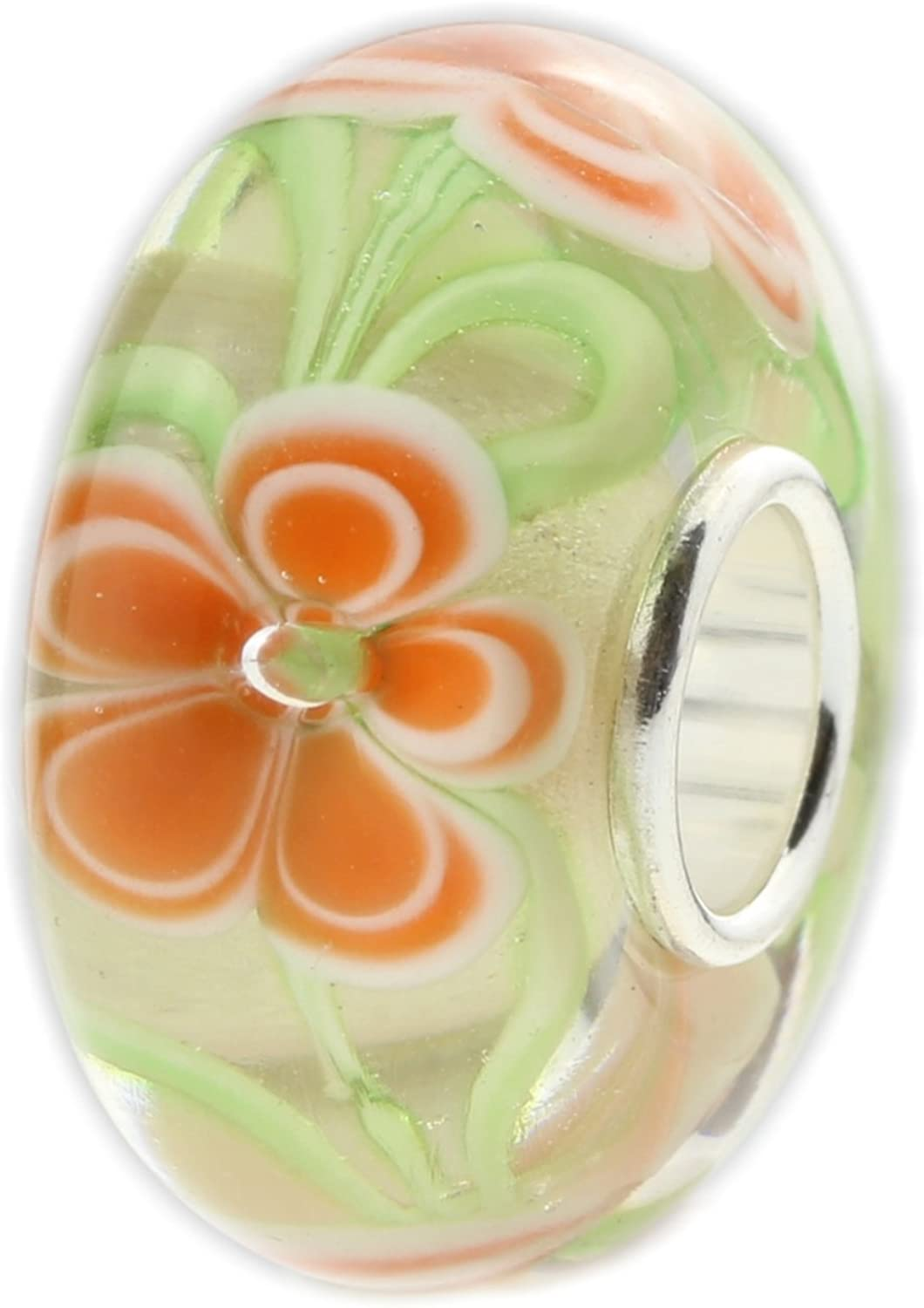 Solid 925 Sterling Silver Glass Green Background with Orange Flowers  Charm Bead