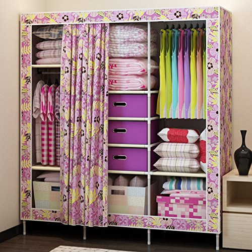 Purple Flowers Generic New Super Large Reinforced Portable Wardrobe Closet Armoire+Free 3 Storage Boxes+Free 5 Clothes Hangers