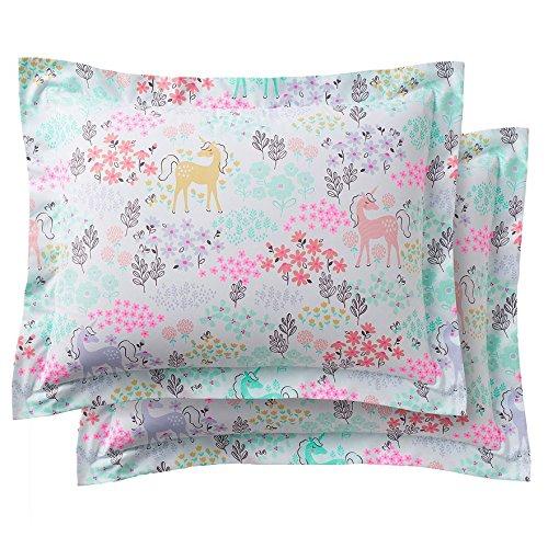 Pastel Unicorns & Flowers Girls Full Comforter Set (7 Piece Bed In A Bag) + HOMEMADE WAX MELT