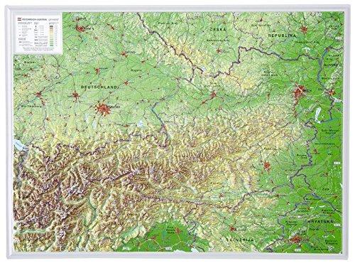 Österreich 1:1.6MIO: Reliefkarte Österreich klein Din A3 (Tiefgezogenes Kunststoffrelief)