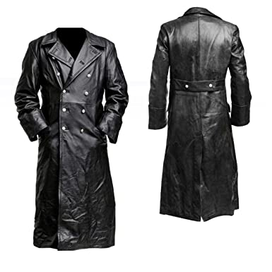 9296ea66c Men German Classic Officer Black Leather Trench Coat By Gemini ...