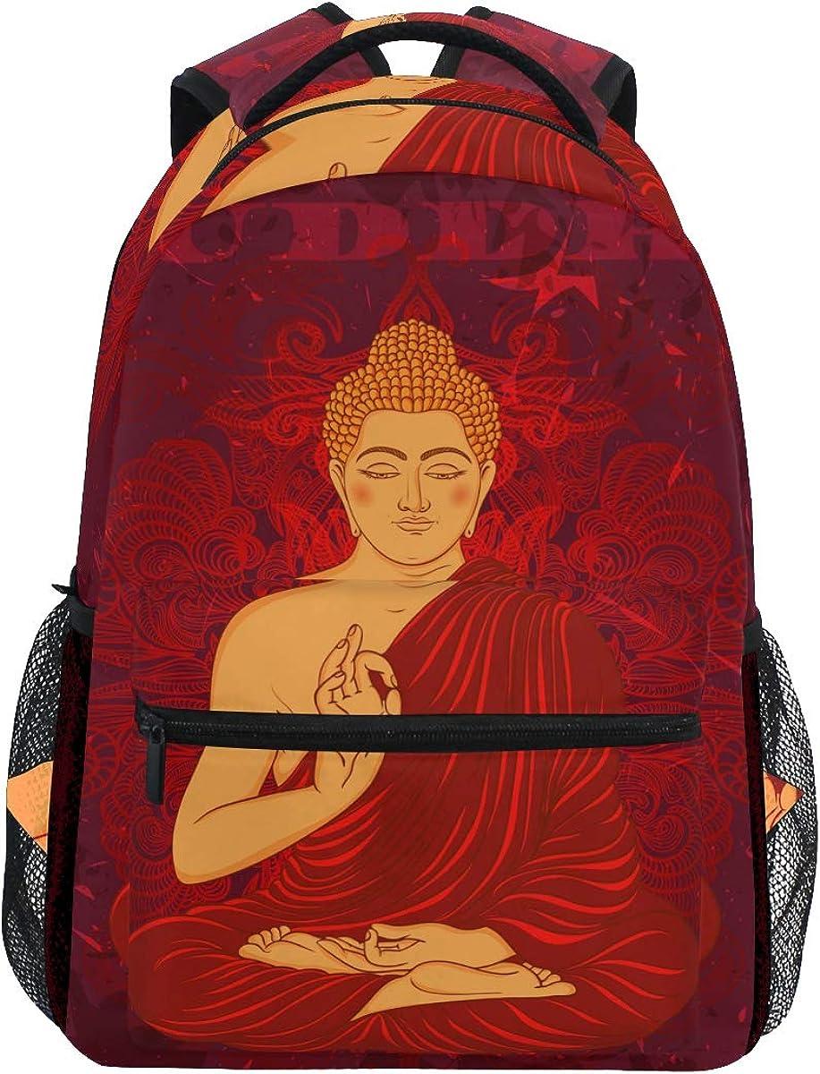 MONTOJ Red Buddha Painting Travel Bag Campus Backpack