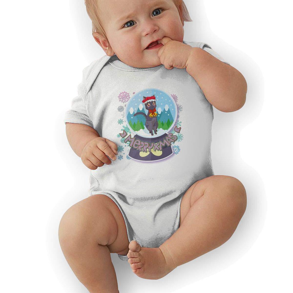 Newborn Baby Boys Bodysuit Short-Sleeve Onesie Christmas Kitten Snow Globe Print Outfit Winter Pajamas