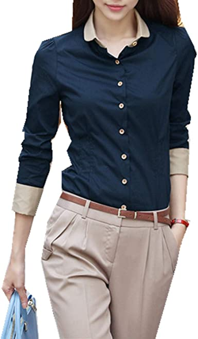 Womens Button Down Collar OL Top Long Sleeve Loose Blouse T Shirt Casual Coat